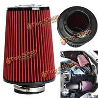 Высокий машина потока холодного воздуха воздушного фильтра сужается конус чище холодный воздух 3 дюйма красный