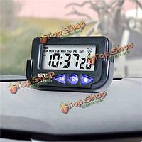 Времени цифрового электронного автомобиля ЖК-дисплей и дата будильник автоматический секундомер звуковым сигналом