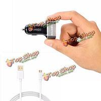 BlitzWolf® BW-C6 30Вт быстрая зарядка дс 2.0 два порта USB автомобильное зарядное устройство 2.1a Micro-USB кабель для зарядки данных
