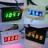 Измерение температуры вольт для метр автомобиль цифровой дисплей времени LED