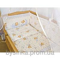 Детское постельное белье из 6 ед.(без балдахина и кармана). Мишки в пижамке