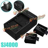 2 двойных настенных адаптера путешествия зарядного устройства батареи камеры US для sj4000 sj5000 m10