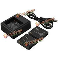 Аккумулятор 1010mah 2шт с двойное зарядное устройство usb кабель для xiaomi yi спорта камеры
