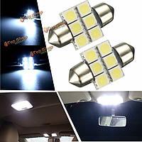 Пара 31мм 6 СМД LED белый CANbus Festoon номер шарика пластины интерьера лампы для чтения