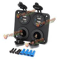 12v двойной прикуривателя & Dual USB 5V1A/2.1a порт зарядное устройство адаптер для автомобиля лодке