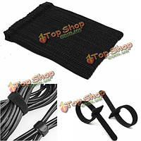 50шт 12x200мм многоразовые застежки крючок цикл кабеля с липучкой галстуки организаторы аккуратно обернуть