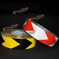 1м/45м трафика предупреждение безопасности светоотражающие полосы черный желтый/красный белый стрелка стикер