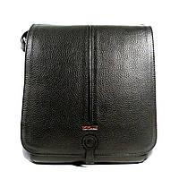 Сумка мужская кожаная через плечо, планшет Desisan 342-01 черный, 25*22*7 см