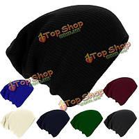 Трикотажные gorro зимняя шапка унисекс мужчины женщины теплый твердый полоса лыжный шапочку громоздкая крышка