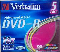 DVD-R Verbatim 4,7 гб 16x Slim 5 pcs цветные