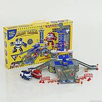 Игровой набор гараж ZY-646 Robot Train, 2 этажа, H=27см, 2 машинки-поезда, дорожные знаки