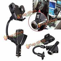 Двойной 2 портами USB автомобильного прикуривателя зарядное устройство держатель для сотового телефона GPS