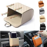 Автомобильные аксессуары воздуха пу организатор коробки держатель телефона карман сумка транспортного средства