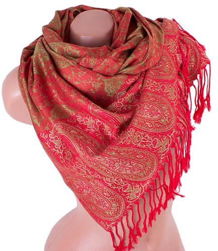 Яркий женский двусторонний палантин из пашмины 175 на 70 см ETERNO (ЭТЕРНО) ES0206-23-2 красный