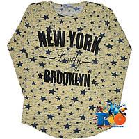 """Детский батник """"Lovely New York"""" , из трикотажа , для девочек от 12-16 лет"""