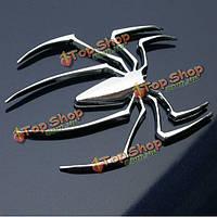 Паук в 3D стикер автомобиля декоративные наклейки серебро