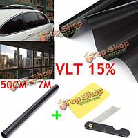 50см х 7 15% VLT Пленка для тонирования стекол черный ролик для автомобилей Auto дом Офис Коммерческая