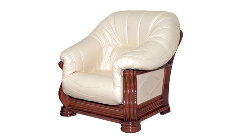 Кожаное классическое кресло Монарх (105 см)