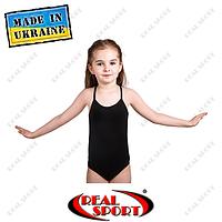 Купальник для танцев и гимнастики на бретельках, хлопок, черный