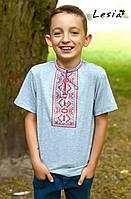 Вишиванка для хлопчика Карпатська червона на сірому 92