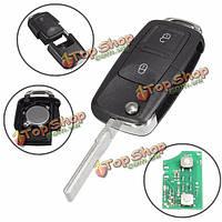 Машина 433MHz ID48 чипы 2 БТН дистанционного ключа сигнализации ФОБ флип режиссерский для VW 1J0 959 753 AG
