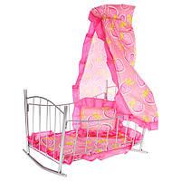 Кроватка 9349 (6шт) для куклы,желез,качал,46,5-33-67см,балдахин,подушка,сп.место 43см, 33,5-46-5,5см