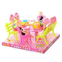 Столовая A8-70 (48шт) стол, стулья 6шт, куклы 6шт, в слюде, 23-20,5-13см