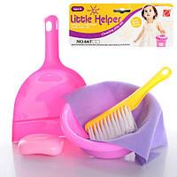 Набор для уборки 667-22 (192шт) щетка, совок, миска, мыло, ткань, в кульке, 18,5-28-4,5см