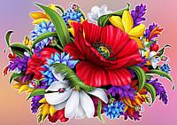 Схема для вышивки бисером Аппликация, цветы габардин