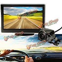 5-дюймов ЖК-монитор зеркало и беспроводной ИК заднего вида обратной резервного копирования автомобиль комплект камеры