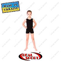 Комбинезон для художественной гимнастики, черный RS GM030090 (хлопок, р-р 1-M, рост 98-134см)