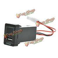 5V 2.1a автомобиля USB разъем зарядного устройства смартфон PDA + вольтметр для Toyota