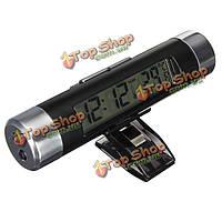 Мини ЖК-цифровые часы термометр автомобиль серебристых Temerature датчик