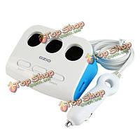 C-DX22 3 порта автомобильного прикуривателя разветвитель гнезда адаптера питания зарядки для мобильного телефона