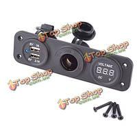 Автомобиля 12v / 24v двойной USB адаптер зарядное устройство цифровой вольтметр прикуриватель розетка