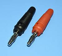 Штекер BANAN никель, резина HQ черный+красный , фото 1