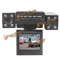 2.0-дюймов Автомобильный видеорегистратор ночного видения видеомагнитофон с двойной камерой