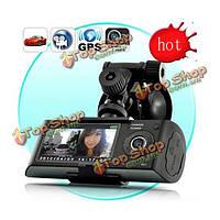 X3000 Автомобильный видеорегистратор камера черточки GPS G-сенсор рекордер 2.7-дюймов двойной линзы