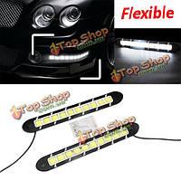 2 x Глыба на 26см 10SMD гибкий LED автомобиль белые водонепроницаемые фары с системой DRL