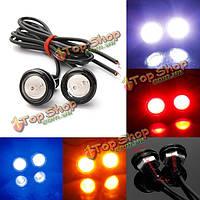 2 x Автомобиль 3W LED Eagle Eye белого света в дневное время работает резервное копирование лампы