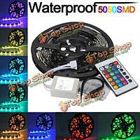 5м RGB SMD 5050 150 гибкие LED Светодиодные полосы водонепроницаемый + 24 дистанционный ключ