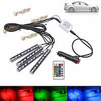 Универсальный 9 LED пульт дистанционного управления RGB интерьер автомобиля декоративная пол полосы света