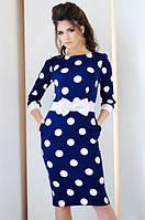 Платье миди с принтом и поясом-бант 1045 (НИН55)