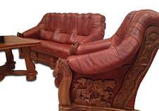 Кожаное кресло с резьбой OSKAR (80 см), фото 2