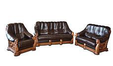 Шкіряне крісло з різьбленням OSKAR (80 см), фото 2