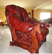 Кожаное кресло с резьбой OSKAR (80 см), фото 3