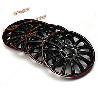 4шт пластмассовый универсальный набор 14-дюймовых красных черных автомобильных колпаков колес спортивных состязаний покрывают заглавные
