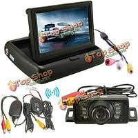 Автомобиль беспроводной ИК заднего резервного копирования вспять комплект камеры складной ЖК-монитор 4.3-дюймовый