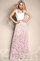 Комбинированный женский костюм с удлиненной майкой из микромасла и шифоновой юбкой в пол в цветочек