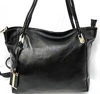 Чёрная сумка с длинными ручками из натуральной кожи